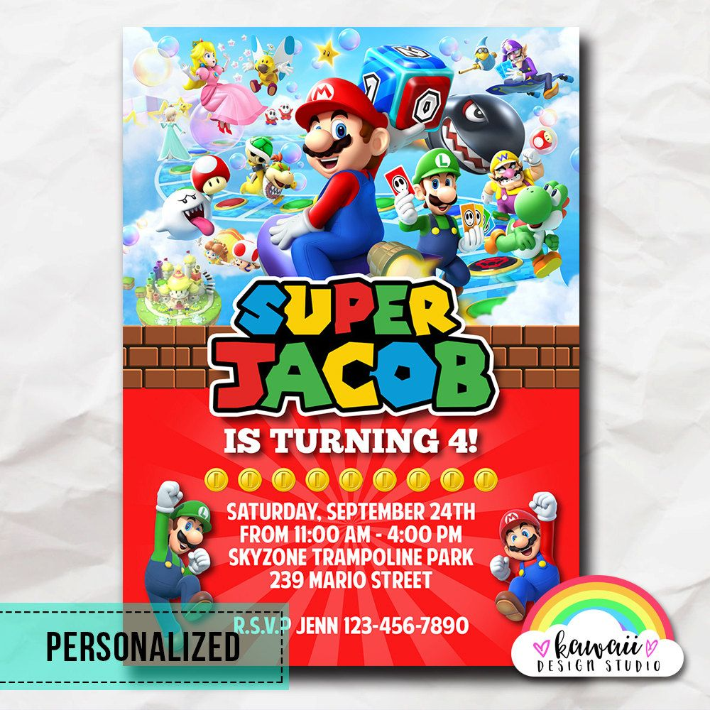 Super Mario Bros Invitation Super Mario Bros Party Super Mario