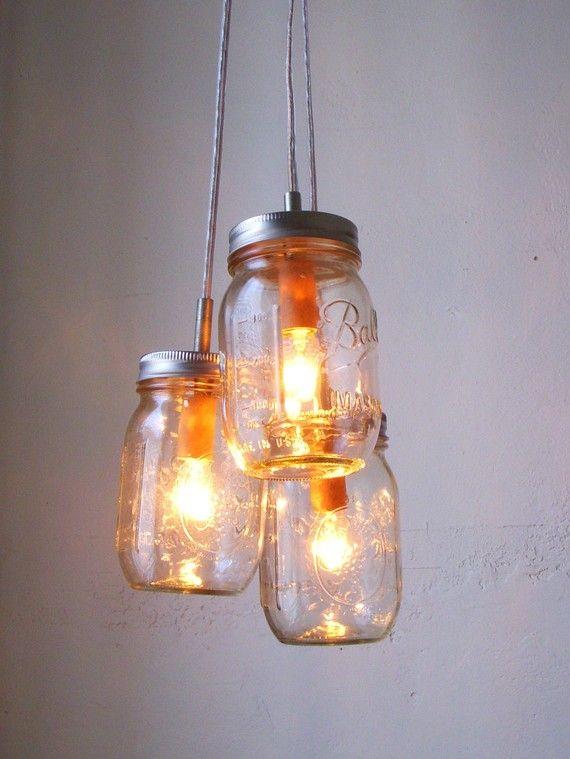 Heart Shaped Mason Jar Chandelier - Romantic Country Wedding Hanging Lighting Fixture - Rustic Modern Industrial BootsNGus Lamp Design #jarchandelier