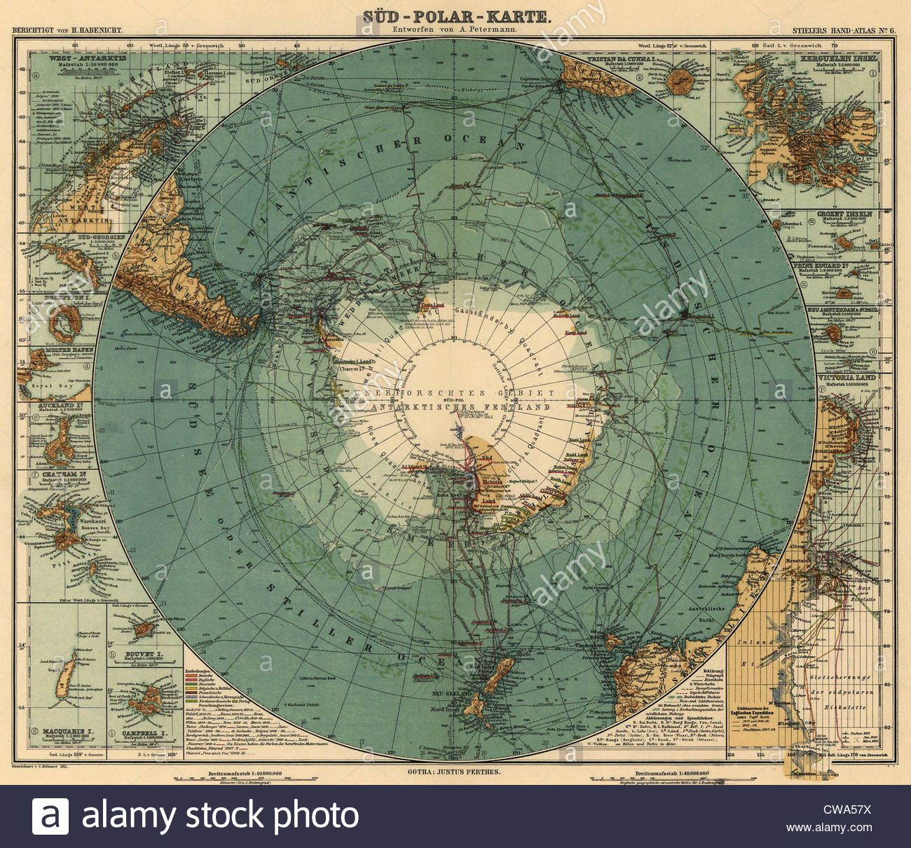 Map of Antarctica and surrounding ocean, and southern regions of ...