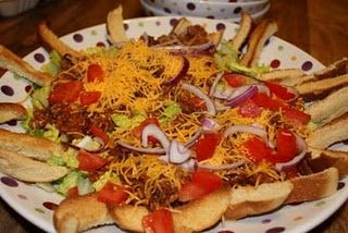 Deluxe Cheeseburger salad! I had this at a pampered chef party and it was DELICIOUS!