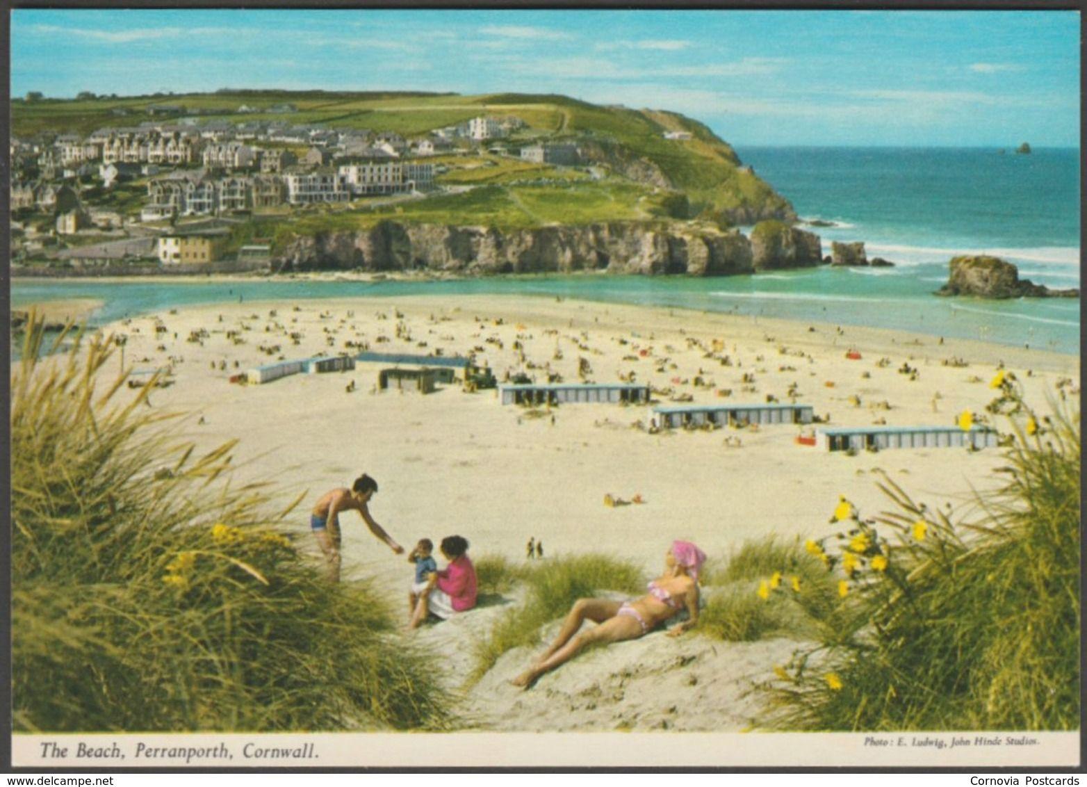 The Beach, Perranporth, Cornwall, c.1970s - John Hinde Postcard