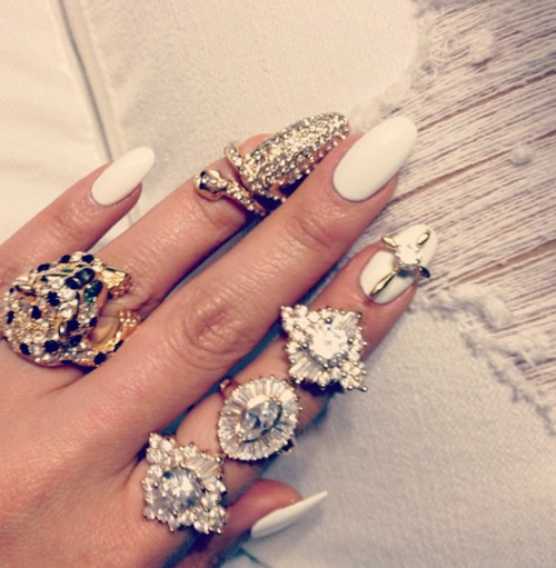 White nails & lots of rings
