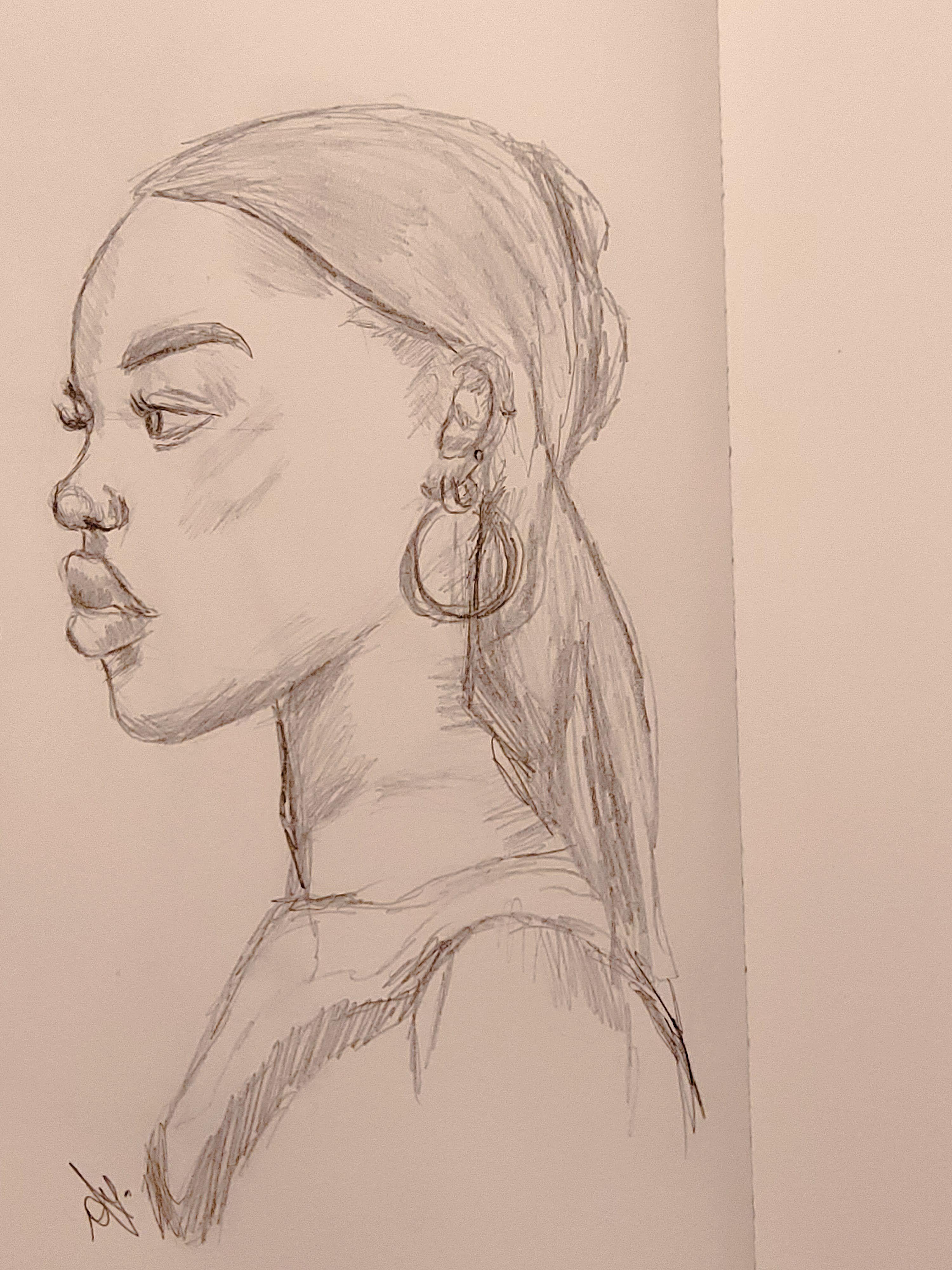 Black girl side profile drawing