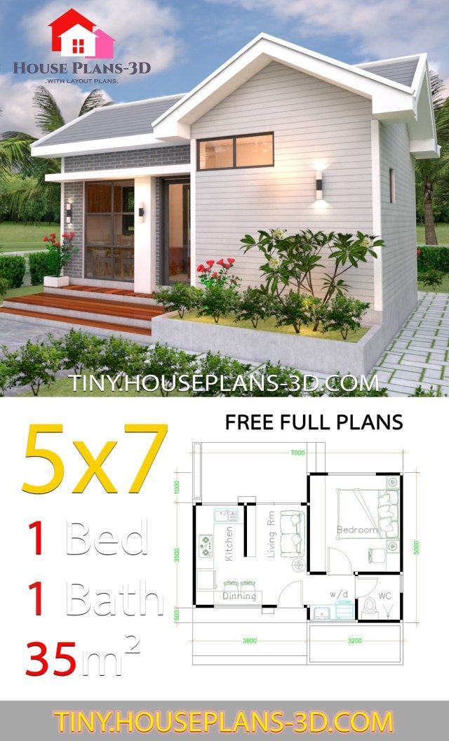 Small House Design Plans 5x7 With One Bedroom Gable Roof In 2020 With Images