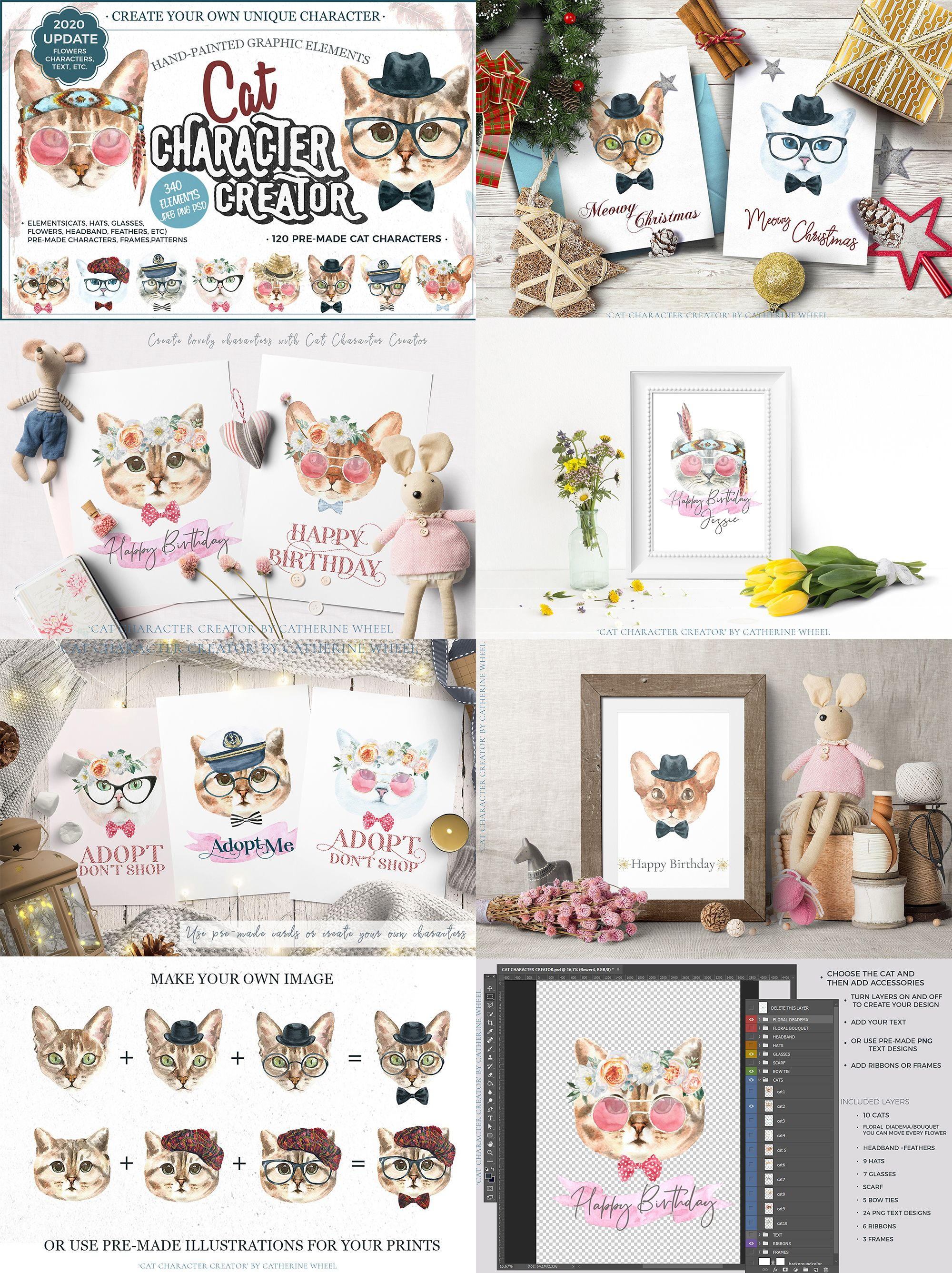Watercolor Animals Bundle 13in1,Watercolor Christmas Woodland animals clipart,Animal creator #1weihnachtstaglustig