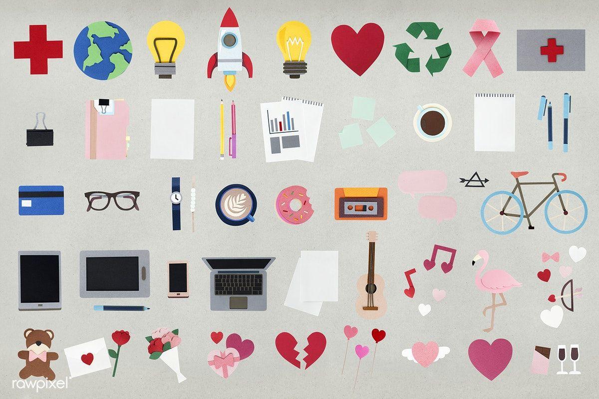 Download premium psd of Paper craft design icons set