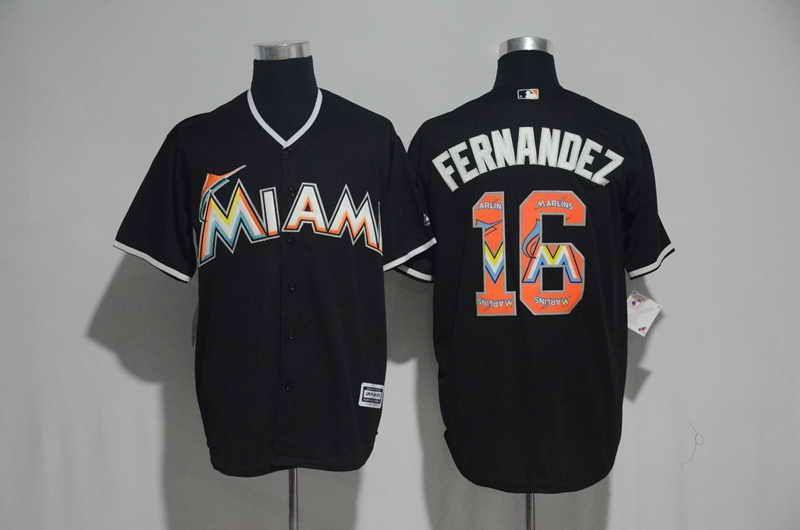 db4c37b03 ... Jersey 21 Miami Marlins 16 Jose Fernandez Black MLB Majestic Cool Base  Mens Stitched Team Logo ...