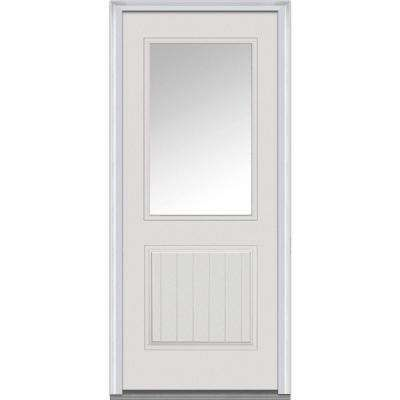 540 32 In X 80 In Clear Right Hand 1 2 Lite 1 Panel Planked Classic Primed Fiberglass Smooth Prehung Front Door Front Door Prehung Doors Mmi Door