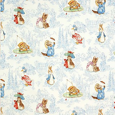 Beatrix Potter Blue Childrens Nursery Curtains Curtain Fabric Jane Churchill Kids