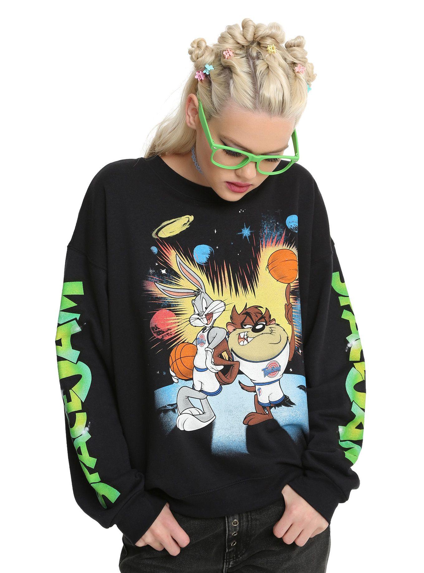 Space Jam Bugs Bunny Taz Girls Sweatshirt Girl Sweatshirts Space Jam Sweatshirts
