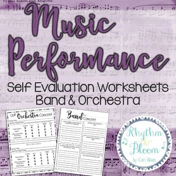 Music Performance Self Evaluation Worksheets, Band  Orchestra