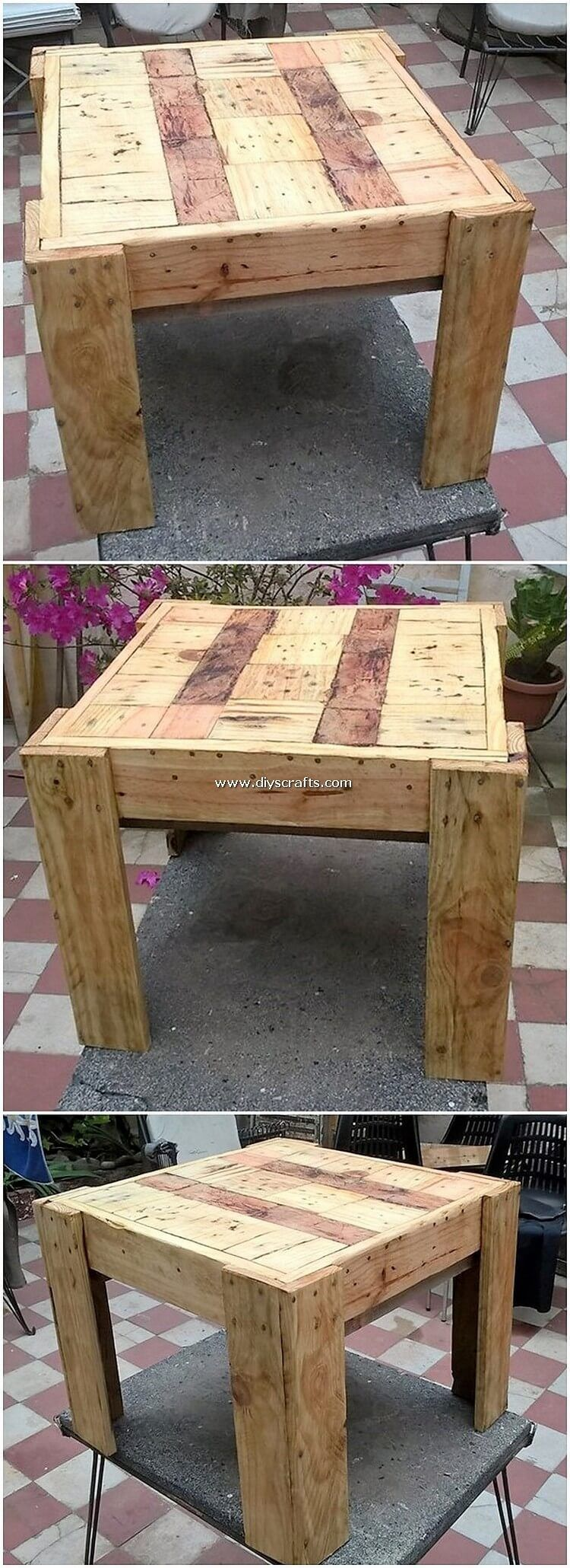 Succeed and Cheap Creations with Old Pallets #oldpalletsforcrafting Pallet Wood Table #oldpalletsforcrafting
