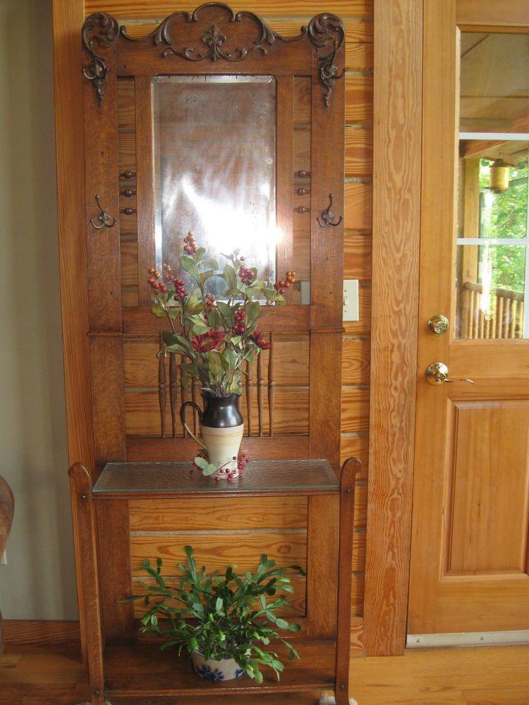 Antique Carved Golden Oak Hall Tree Furniture Mirror 2