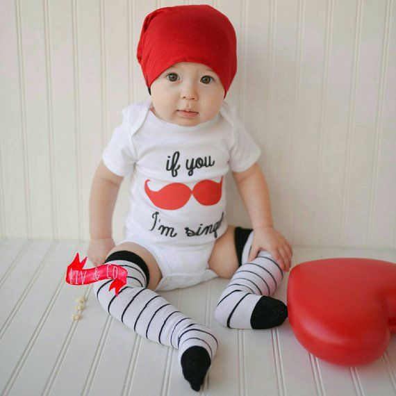 af244162a8808 If You Mustache I'm Single Funny Baby Boy Valentines Day Outfit Toddler  Shirt Infant Newborn Baby Bo