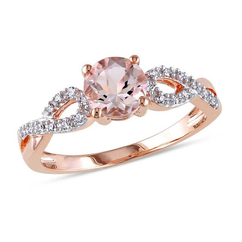 6.0mm Morganite And Diamond Accent Twist Engagement Ring