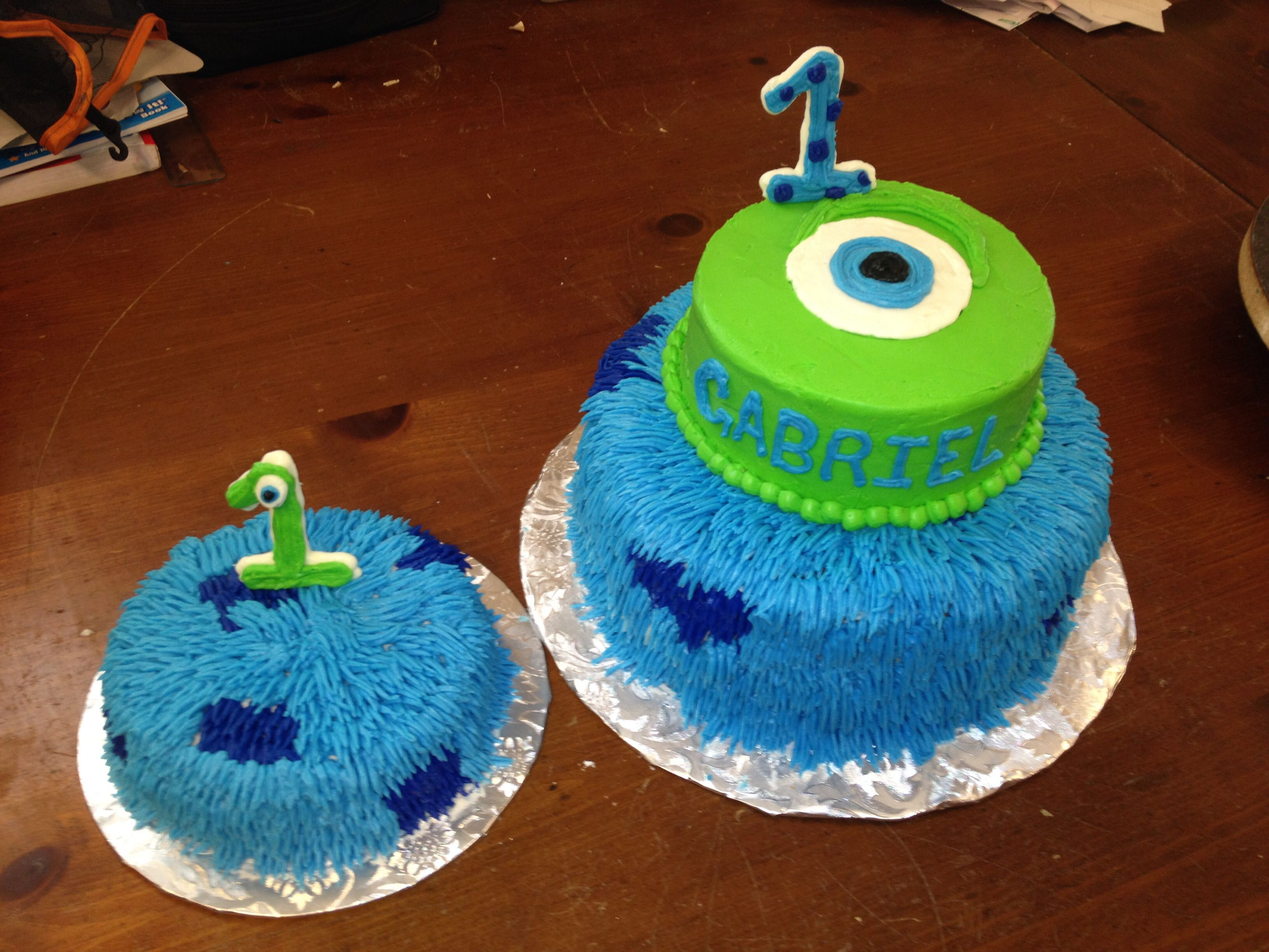 Monsters Inc first birthday cake and smash cake Facebookcom