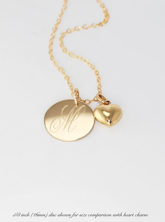 14k Gold Initial Pendant Necklace Monogrammed 14k gold filled initial pendant necklace puffed heart monogrammed gold initial pendant necklace puffed heart charm gift for her personalized mothers audiocablefo