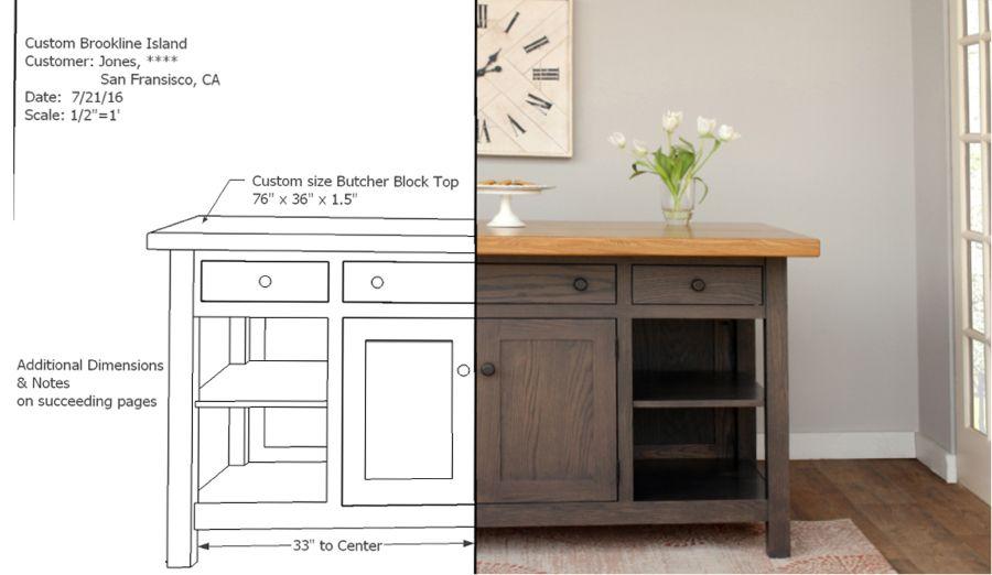 Brookline Island Design And Finished Product With Images Custom Kitchen Island Kitchen Island Design Furniture Design
