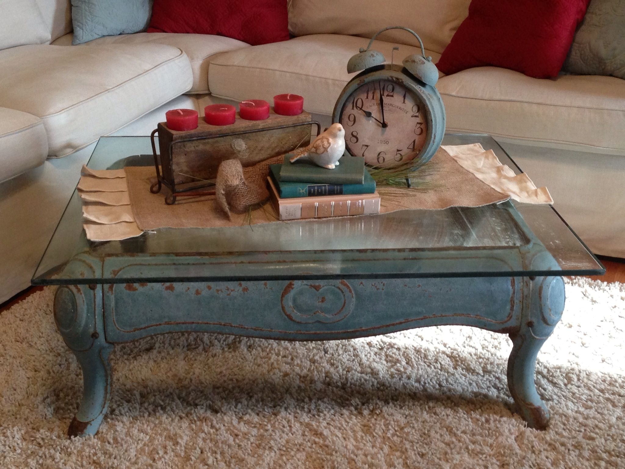 Repurposed wood stove base as a coffee table LOVE