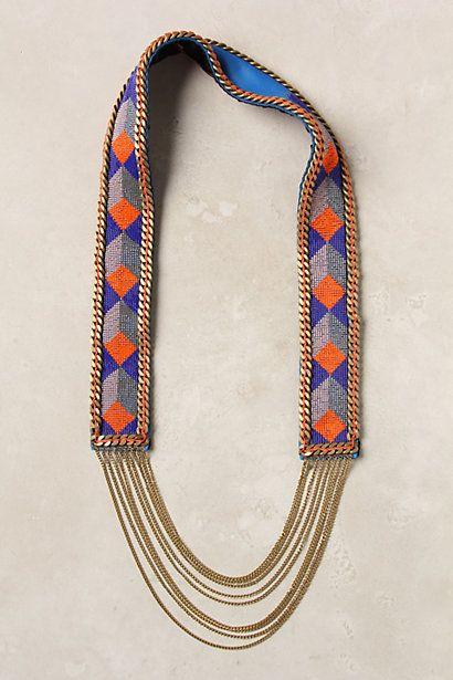 Cobalt Geometry Necklace Colar De Couro Colares E Correntes