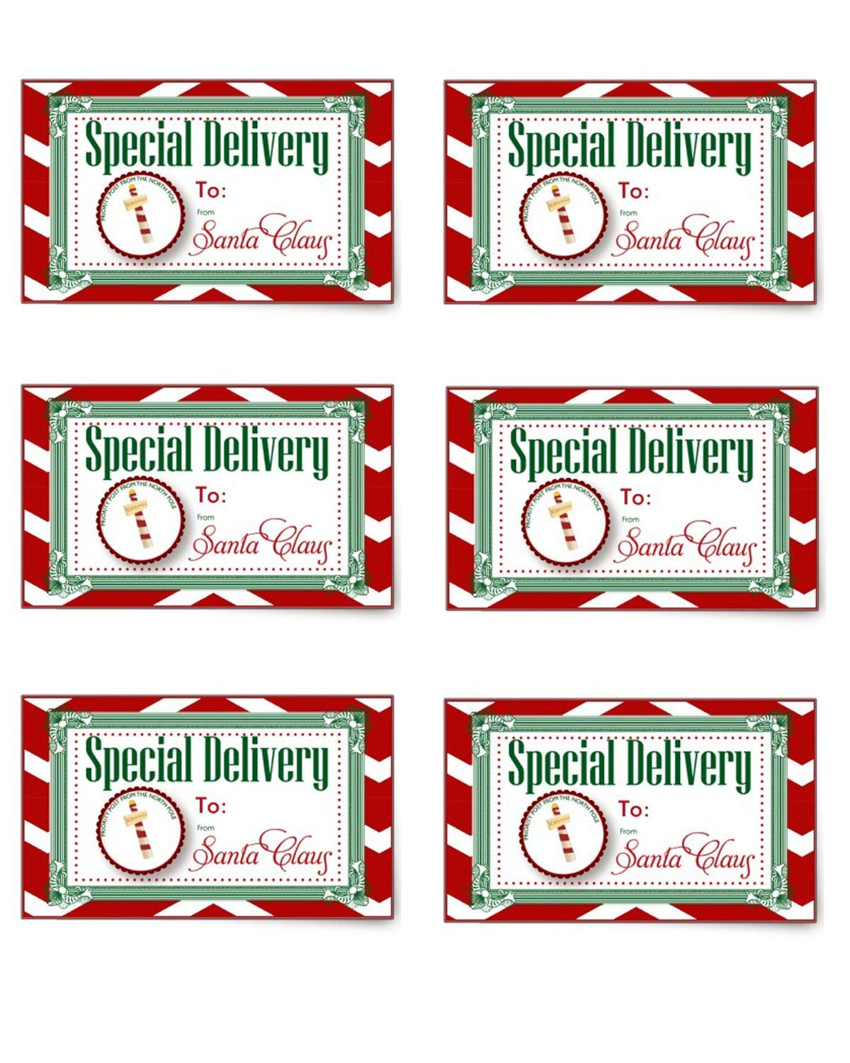 Special delivery gift tag from santa and the north pole holiday special delivery gift tag from santa and the north pole free printable negle Choice Image
