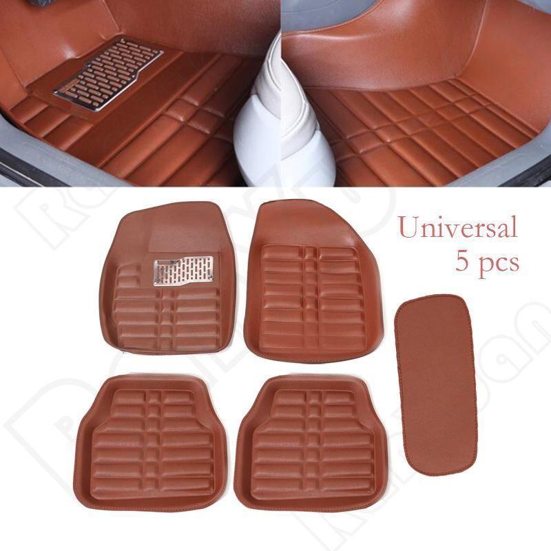Universal 5 Piece Set Leather Car Auto FrontRear Liner Carpet Brown Floor Mats