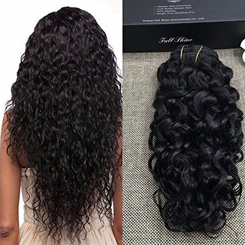 Full Shine 12 7pcsset Brazilian Remy Human Hair Black Women Clip
