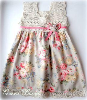 beautiful dress; crochet top w/ attached fabric skirt
