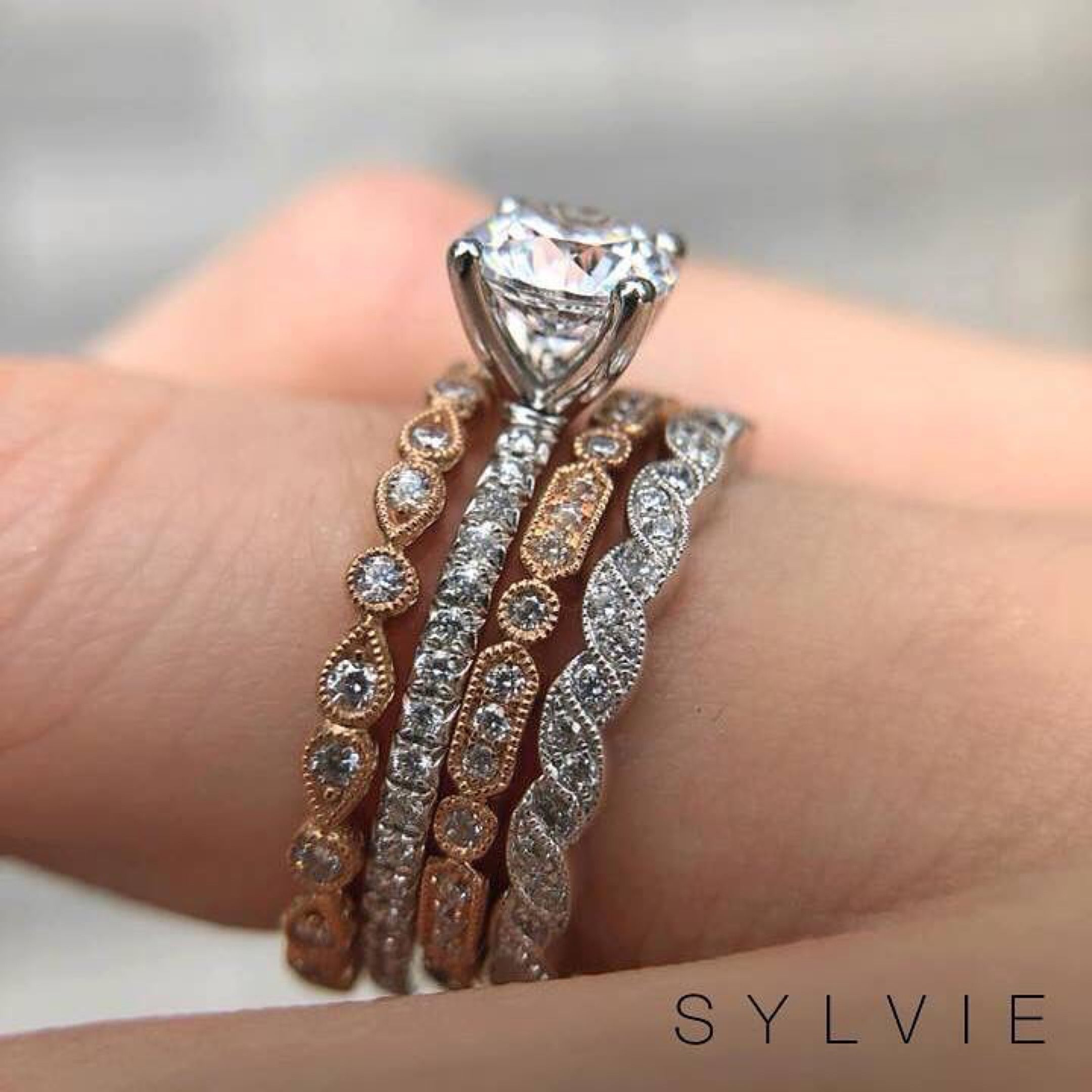 Mixed Metal Bands Stacked With Sylvie Morganite Engagement Ring Vintage Vintage Engagement Rings Rose Gold Engagement Ring