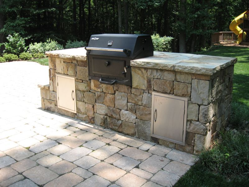 Grilling Station Near Housepaver Patio Connects To Screen Porch Amazing Outdoor Kitchen Charcoal Grill Decorating Inspiration