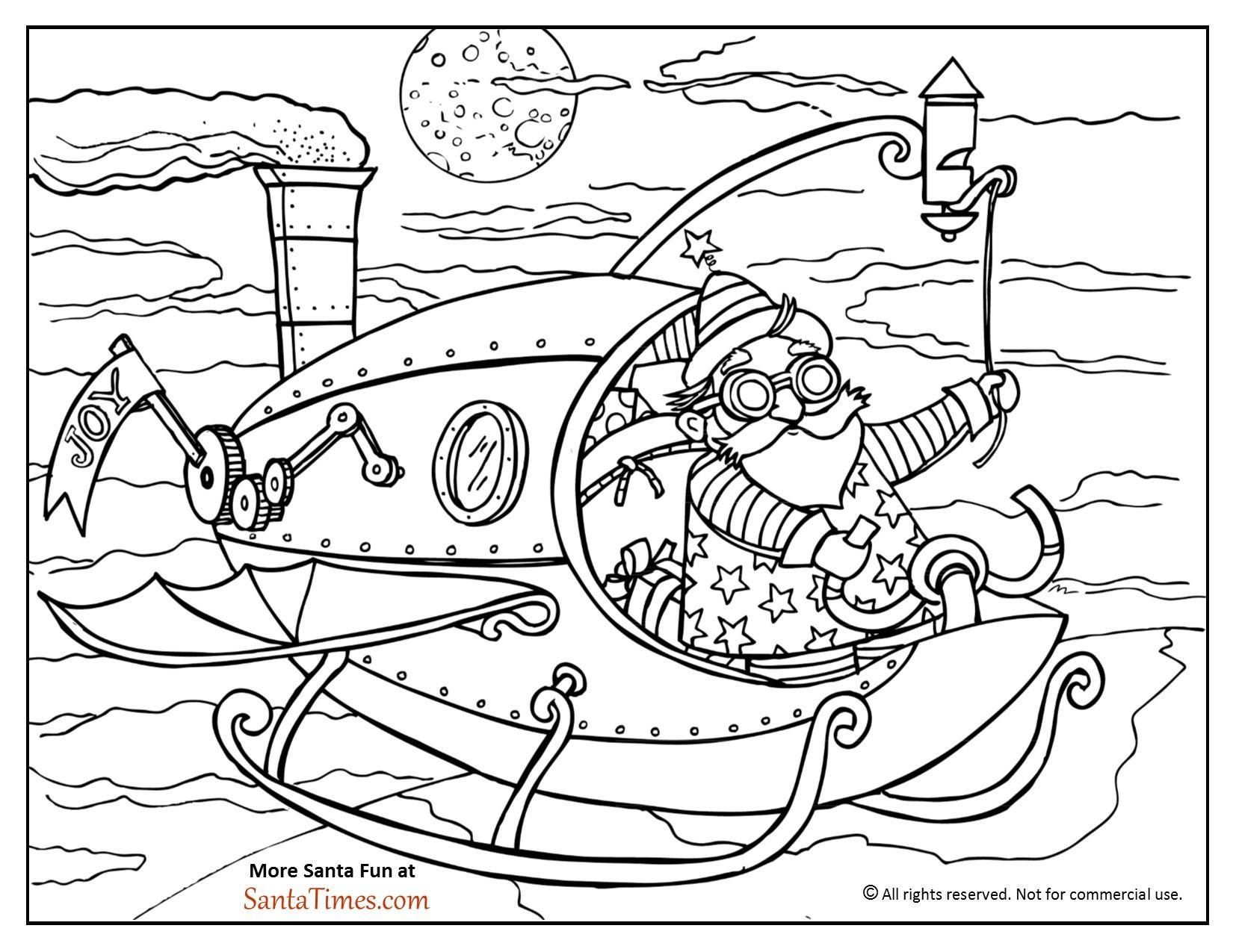 Steampunk Santa Coloring Page Santa Coloring Pages Coloring Pages Steampunk Coloring