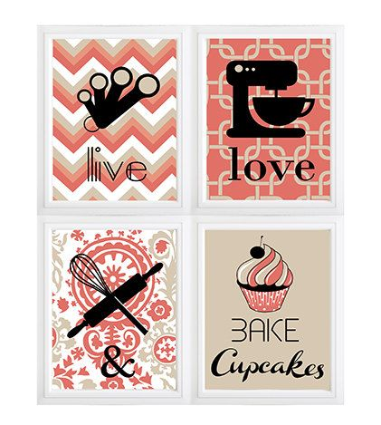 Set Of 4 Modern Kitchen Wall Art Live Love And Bake