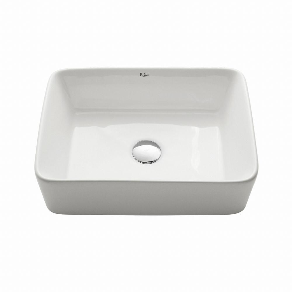 Desague Fregadero Dos Senos Kraus Rectangular Ceramic Vessel Bathroom Sink In White