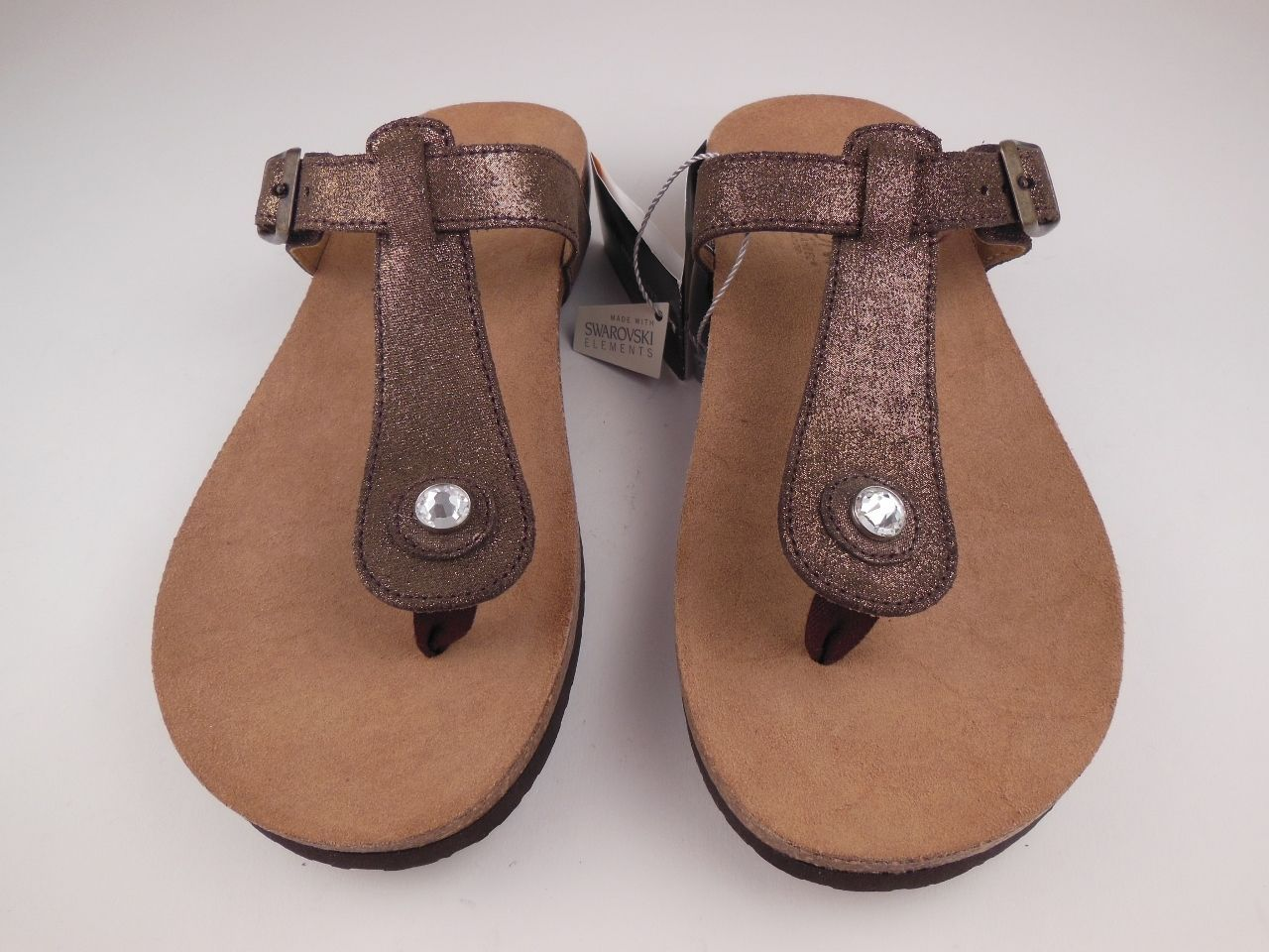 Orthaheel Vionic Mary Brown Glitter Leather Thong Sandals Sz 8 M   eBay