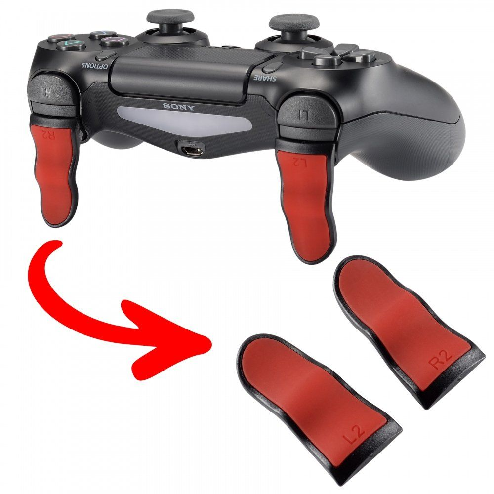 Extremerate Red Black L2 R2 Buttons Extention Trigger Soft Touch Grip Extenders Game Improvement Adjusters For Playstation 4 Ps4 Slim Playstation 4 Ps4 Ps4
