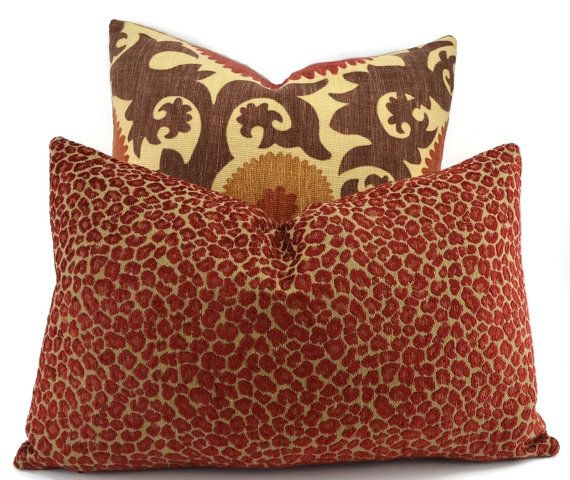 Throw Pillow Cover Red Gold Chenille Animal Print Lumbar Pillow Adorable Lumbar Pillow Inserts 14 X 22