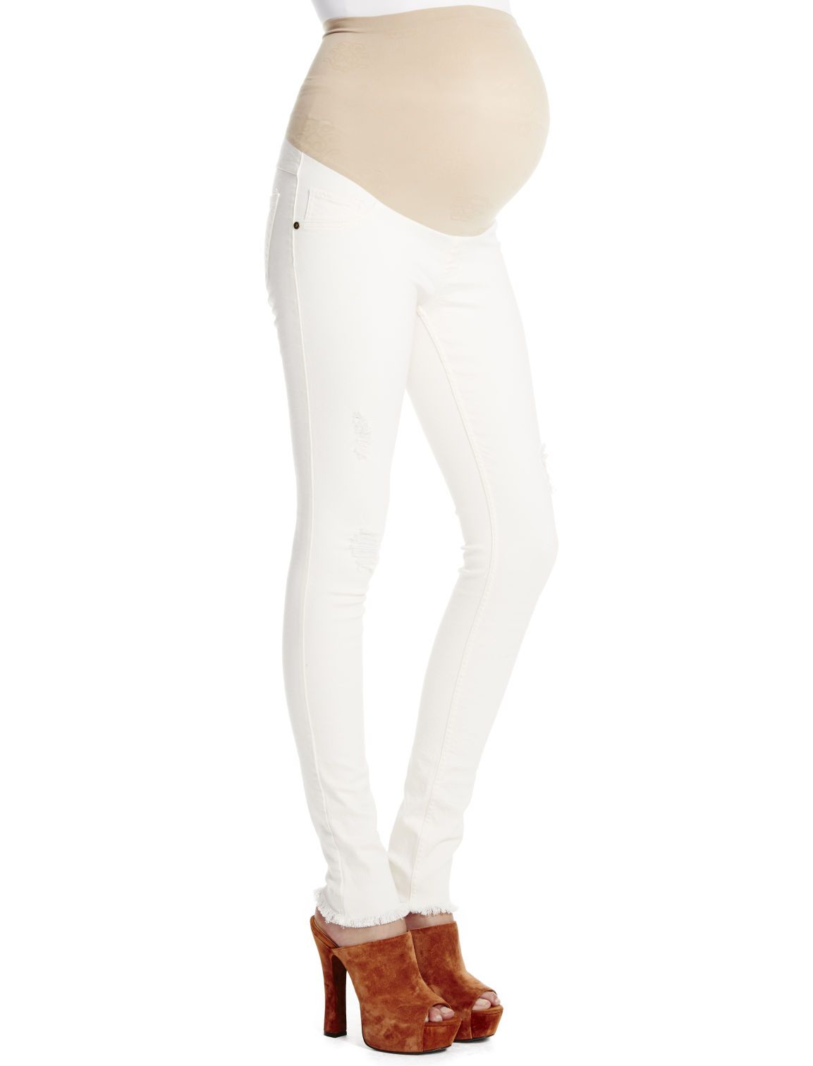 a684135c9fe24 Winter white + frayed hem | Secret fit belly 5 pocket skinny leg maternity  jeans by Jessica Simpson available at Motherhood Maternity