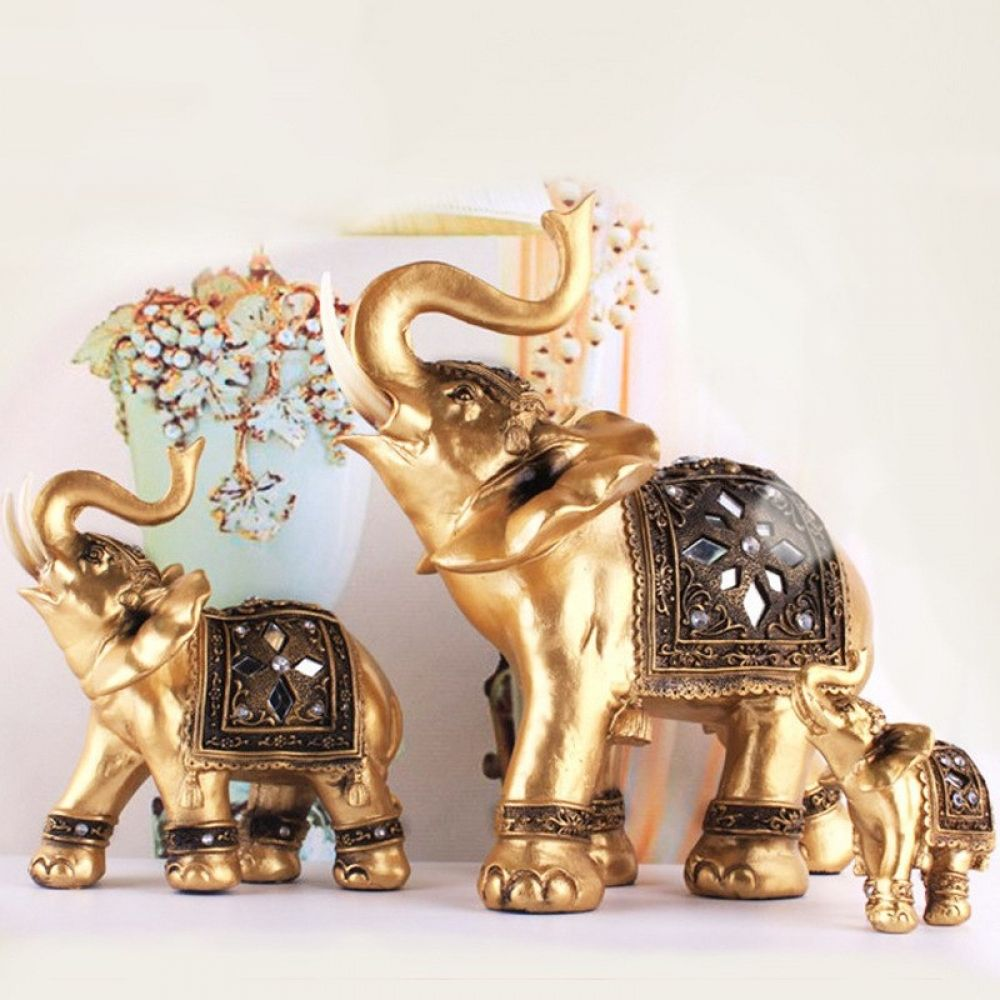 Golden Elephant Decorative Figurines images