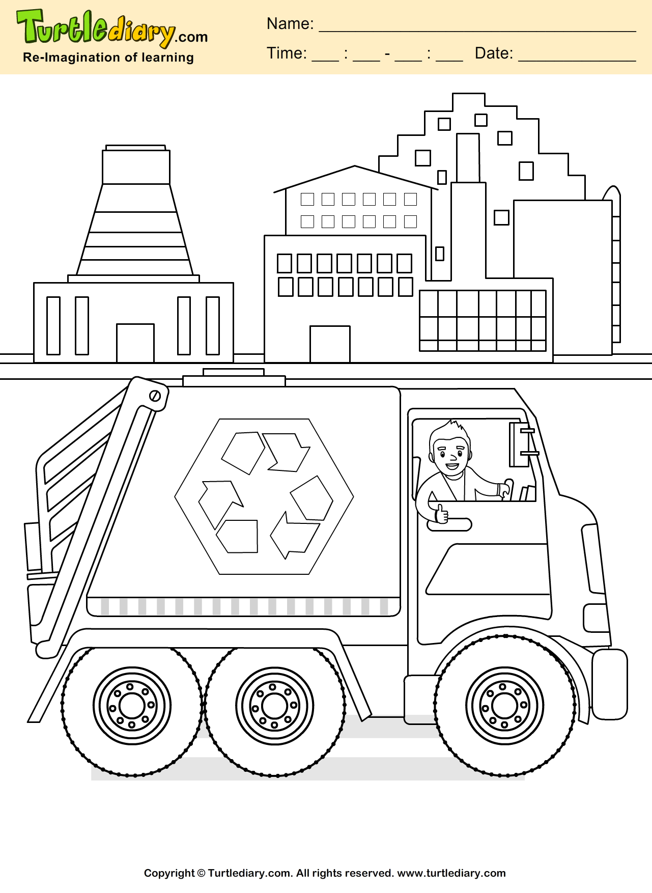 earth day recycling coloring page kids crafts coloring turtlediary childeducation - Recycling Coloring Pages Kids