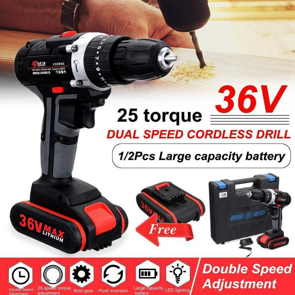 36v Cordless Drill Daul Speed Adjustment Led Lighting Electric Drill With Large Doersupp Cordless Drill Drill Driver Drill