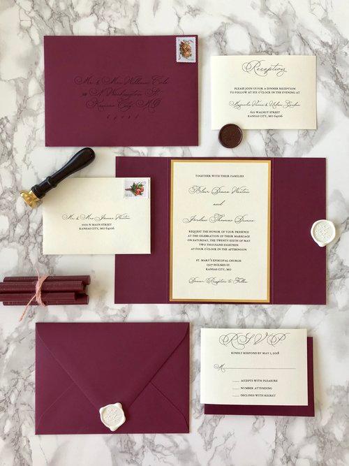 Burgundy and Gold Mirror Gate Wedding Invitation. #WeddingCards #WeddingCardsHandmade #WeddingThankyouCards #WeddingCardsAnniversary