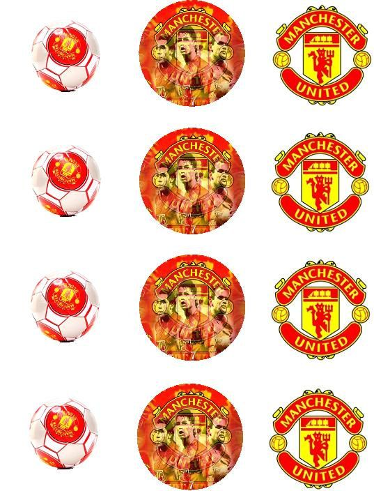 Manchester United Edible Cupcake Toppers 12x2inch By Zaharibydina 11 00 Prazdnik
