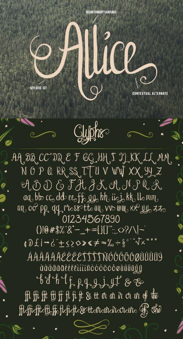 Allice Typeface Fonts Handwriting Alphabet Hand Lettering Fonts Hand Lettering Alphabet