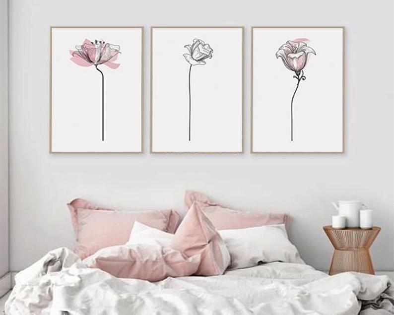Set Of 3 Wall Art Printable Flowers Print Set Of 3 Etsy Bedroom Wall Art Wall Decor Bedroom Printable Wall Art