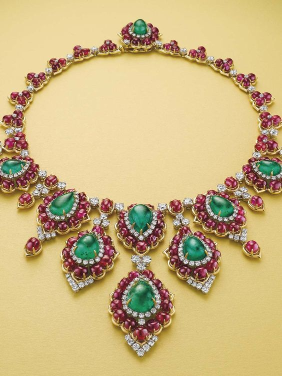 Emerald, Ruby and Diamond Necklace by Bulgari, with an estimated value of $300-400,000.: