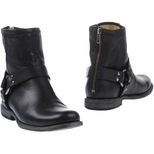 Frye Ankle Boots ($257) ❤ liked on Polyvore featuring shoes, boots, ankle booties, black, leather booties, black leather boots, frye booties, ankle boots and black booties