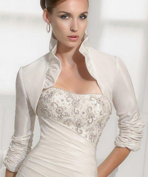 New Bridal Ivory White Ruffle Satin 3 4 Sleeves Bolero Shrug