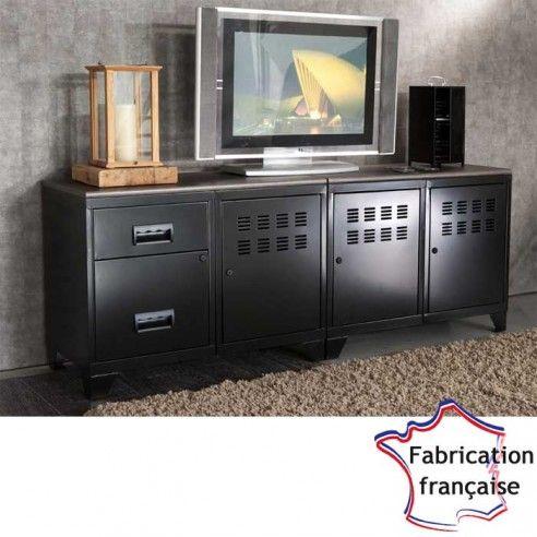 Meuble Tv Metal Noir Style Industriel So French Deco Meubles Metal