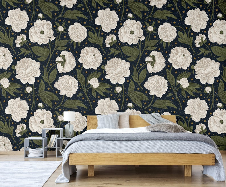 Navy Wallpaper With Stars And White Flowers Self Adhesive Etsy Navy Wallpaper Vintage Floral Wallpapers Wallpaper