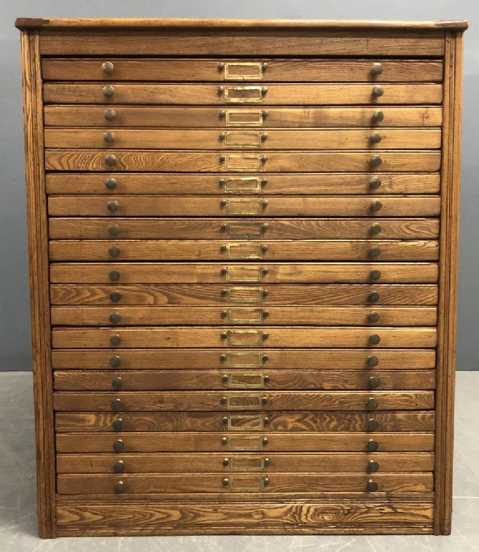 Oak Flat File Cabinet Specimen Chest on